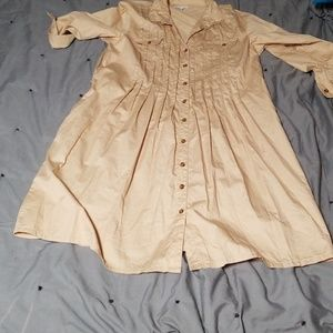 Button up khaki front pleated Gap Dress